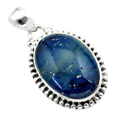 15.08cts natural blue swedish slag 925 sterling silver pendant jewelry t38761