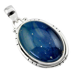 15.62cts natural blue swedish slag 925 sterling silver pendant jewelry t38762