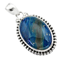 16.73cts natural blue swedish slag 925 sterling silver pendant jewelry t38768
