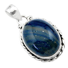 14.68cts natural blue swedish slag 925 sterling silver pendant jewelry t38769