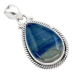 13.67cts natural blue swedish slag 925 sterling silver pendant jewelry t38771
