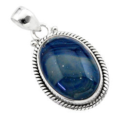 15.08cts natural blue swedish slag 925 sterling silver pendant jewelry t38772