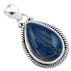 15.10cts natural blue swedish slag 925 sterling silver pendant jewelry t38774