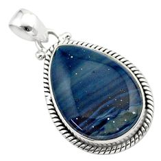 15.65cts natural blue swedish slag 925 sterling silver pendant jewelry t38775