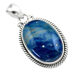15.08cts natural blue swedish slag 925 sterling silver pendant jewelry t38777