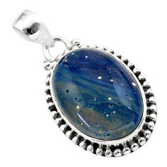 16.55cts natural blue swedish slag 925 sterling silver pendant jewelry t38780