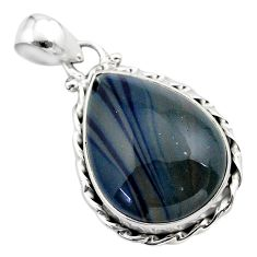14.65cts natural blue swedish slag 925 sterling silver pendant jewelry t38796
