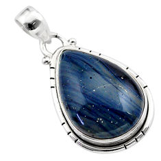 15.65cts natural blue swedish slag 925 sterling silver pendant jewelry t38800