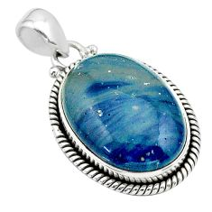 17.22cts natural blue swedish slag 925 sterling silver pendant jewelry t39434