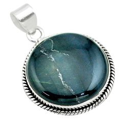 19.72cts natural blue swedish slag 925 sterling silver pendant jewelry t53553