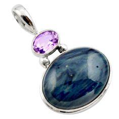 16.20cts natural blue swedish slag amethyst 925 sterling silver pendant r27682