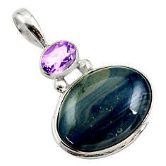 15.65cts natural blue swedish slag amethyst 925 sterling silver pendant r27702