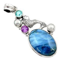 Clearance Sale- 25.57cts natural blue swedish slag amethyst pearl 925 silver fish pendant d45502