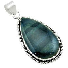 18.94cts natural blue swedish slag pear 925 sterling silver pendant t53555