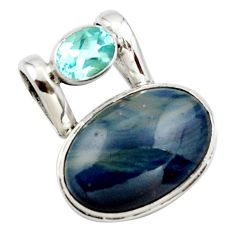 16.73cts natural blue swedish slag topaz 925 sterling silver pendant r27685
