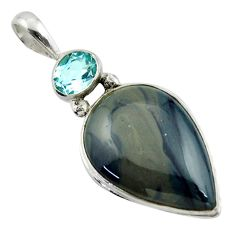 18.68cts natural blue swedish slag topaz 925 sterling silver pendant r41707