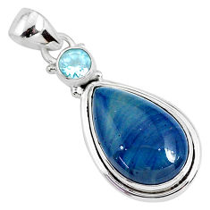13.15cts natural blue swedish slag topaz 925 sterling silver pendant r94521