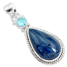 12.58cts natural blue swedish slag topaz 925 sterling silver pendant r94524