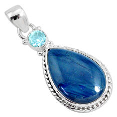 14.23cts natural blue swedish slag topaz 925 sterling silver pendant r94527