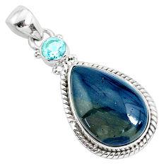 13.15cts natural blue swedish slag topaz 925 sterling silver pendant r94530