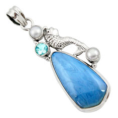 Clearance Sale- 24.38cts natural blue swedish slag topaz pearl 925 silver fish pendant d45501