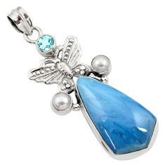 Clearance Sale- 25.57cts natural blue swedish slag topaz pearl silver butterfly pendant d45504