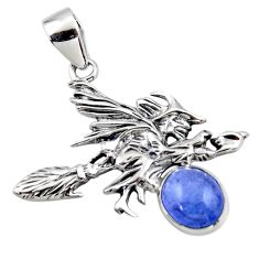 3.28cts natural blue tanzanite 925 silver pentacle witches broom pendant r48374