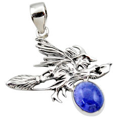 4.21cts natural blue tanzanite 925 silver pentacle witches broom pendant r48380