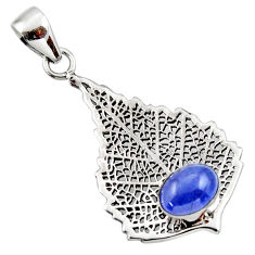 3.19cts natural blue tanzanite 925 sterling silver deltoid leaf pendant r48369