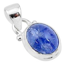 4.43cts natural blue tanzanite 925 sterling silver pendant jewelry t19022