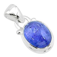 4.52cts natural blue tanzanite 925 sterling silver pendant jewelry t19031