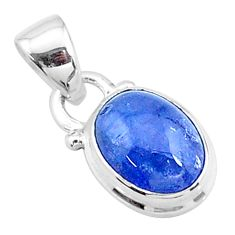 4.58cts natural blue tanzanite 925 sterling silver pendant jewelry t19039