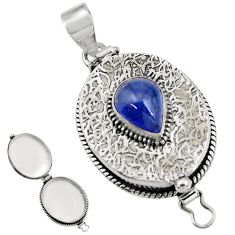 4.41cts natural blue tanzanite 925 sterling silver poison box pendant r30622