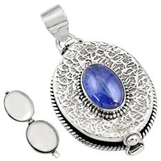 4.50cts natural blue tanzanite 925 sterling silver poison box pendant r30625