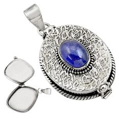 4.68cts natural blue tanzanite 925 sterling silver poison box pendant r30629
