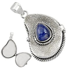 4.77cts natural blue tanzanite 925 sterling silver poison box pendant r30651