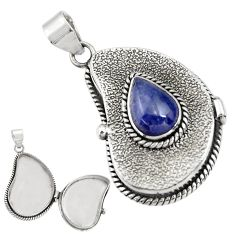 4.49cts natural blue tanzanite 925 sterling silver poison box pendant r30653