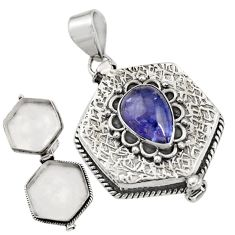 4.50cts natural blue tanzanite 925 sterling silver poison box pendant r30661