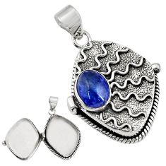 4.50cts natural blue tanzanite 925 sterling silver poison box pendant r30676