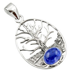 3.37cts natural blue tanzanite 925 sterling silver tree of life pendant r48363