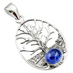 3.02cts natural blue tanzanite 925 sterling silver tree of life pendant r48365