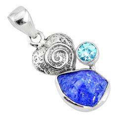 7.44cts natural blue tanzanite raw topaz 925 sterling silver pendant r74052