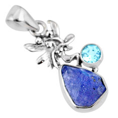 5.79cts natural blue tanzanite rough 925 silver angel wings fairy pendant r61964
