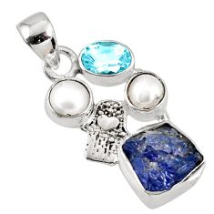 8.31cts natural blue tanzanite rough 925 silver hand of god hamsa pendant r62024
