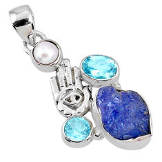 8.94cts natural blue tanzanite rough 925 silver hand of god hamsa pendant r62025