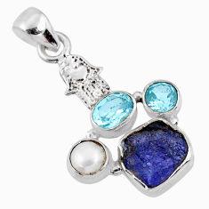 7.97cts natural blue tanzanite rough 925 silver hand of god hamsa pendant r62041