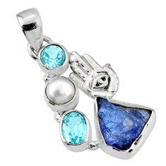 9.47cts natural blue tanzanite rough 925 silver hand of god hamsa pendant r62045