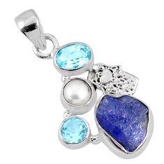 8.44cts natural blue tanzanite rough 925 silver hand of god hamsa pendant r62047
