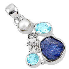 8.77cts natural blue tanzanite rough 925 silver hand of god hamsa pendant r62049