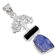 10.84cts natural blue tanzanite rough 925 silver tree of life pendant r55501